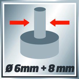 Folgende Durchmesser sind mit der Einhell Oberfräse TE-RO 1255 E kompatibel: 6 mm und 8 mm